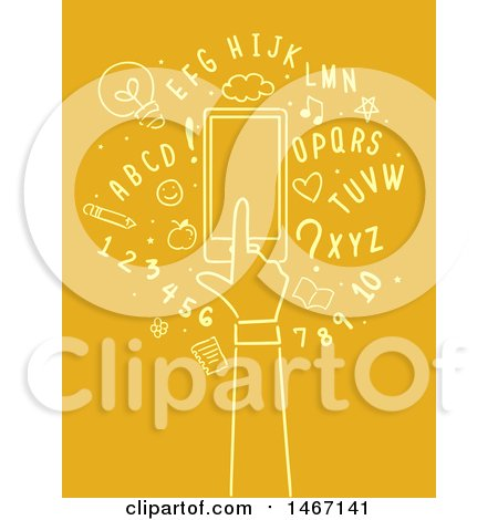 Clipart of a Hand Using a Mobile App, Surrounded by Numbers and Letters - Royalty Free Vector Illustration by BNP Design Studio