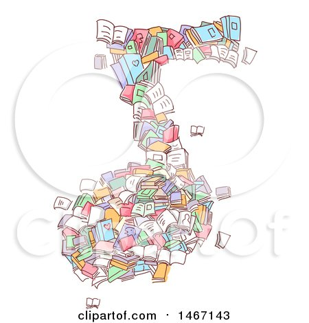 Clipart of a Sketched Music Note Made of Books - Royalty Free Vector Illustration by BNP Design Studio