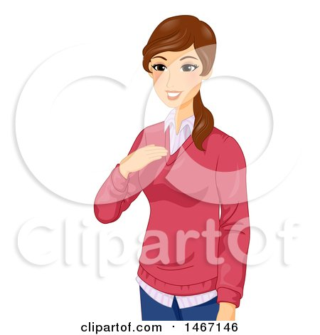 Clipart of a Female Teacher Introducing Herself - Royalty Free Vector Illustration by BNP Design Studio