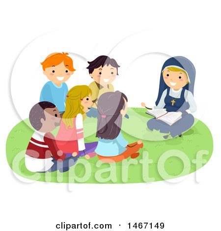 Clipart of a Group of Teenagers Gathered Around a Nun Reading the Bible - Royalty Free Vector Illustration by BNP Design Studio