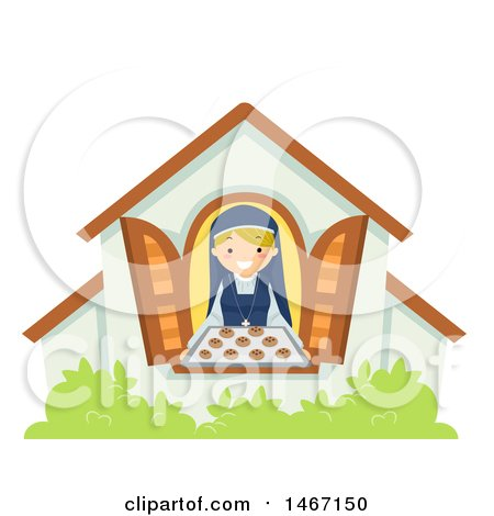 Clipart of a Nun Holding Fresh Baked Cookies at a Window - Royalty Free Vector Illustration by BNP Design Studio