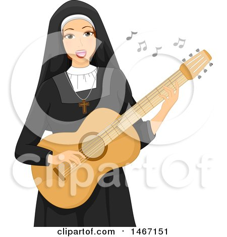 Clipart of a Nun Playing a Guitar - Royalty Free Vector Illustration by BNP Design Studio