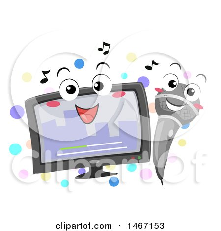 Clipart of a Karaoke Monitor and Microphone - Royalty Free Vector Illustration by BNP Design Studio