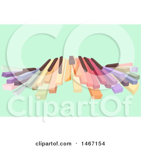 Clipart of a Row of Colorful Piano Keys on Green - Royalty Free Vector Illustration by BNP Design Studio