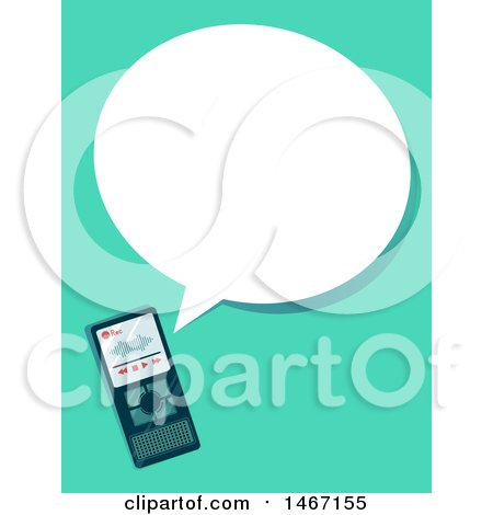 Clipart of a Voice Recorder and Speech Bubble - Royalty Free Vector Illustration by BNP Design Studio