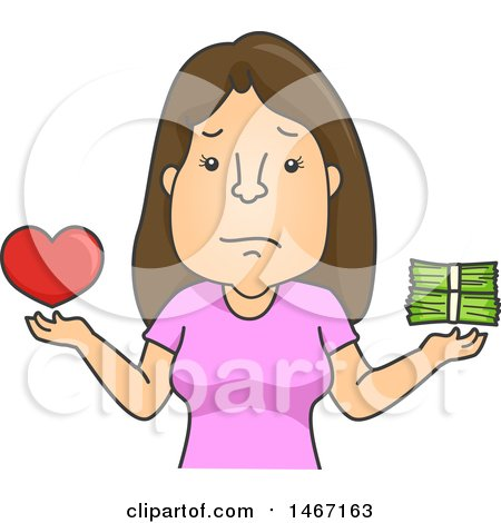 Clipart of a Cartoon Woman Balancing Love and Money - Royalty Free Vector Illustration by BNP Design Studio