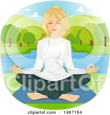 Clipart of a Woman Meditating on a Lake - Royalty Free Vector Illustration by BNP Design Studio