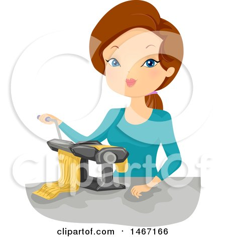 Clipart of a Woman Making Pasta - Royalty Free Vector Illustration by BNP Design Studio