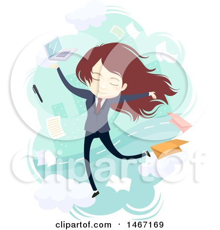 Clipart of a Young Business Woman Surrounded by Tasks - Royalty Free Vector Illustration by BNP Design Studio