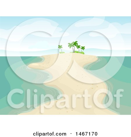 Clipart of a Sandbar with Palm Trees - Royalty Free Vector Illustration by BNP Design Studio