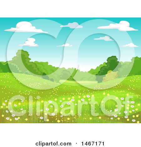 Clipart of a Landscape of a Meadow with Spring Flowers - Royalty Free Vector Illustration by BNP Design Studio