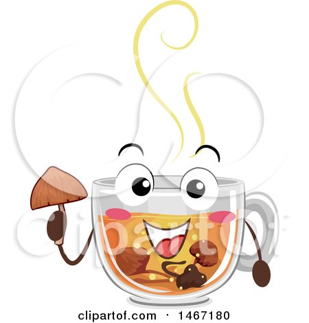 Clipart of a Cup of Hot Tea Mascot with Psychadelic Mushrooms - Royalty Free Vector Illustration by BNP Design Studio