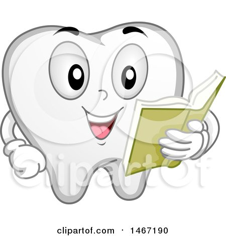 Clipart of a Tooth Mascot Reading a Book - Royalty Free Vector Illustration by BNP Design Studio