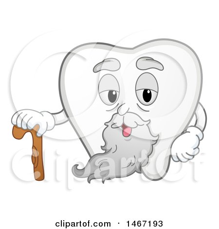 Clipart of a Wisdom Tooth Mascot with a Cane - Royalty Free Vector Illustration by BNP Design Studio