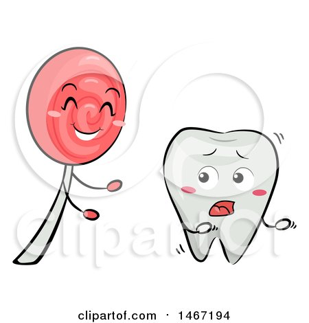 Clipart of a Tooth Mascot Running from a Lollipop - Royalty Free Vector Illustration by BNP Design Studio