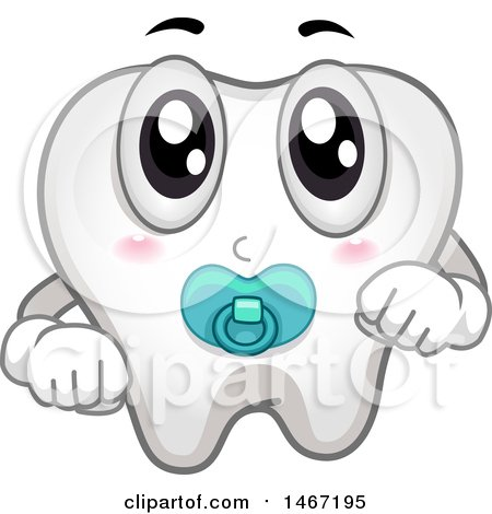 Clipart of a Baby Tooth Mascot with a Pacifier - Royalty Free Vector Illustration by BNP Design Studio