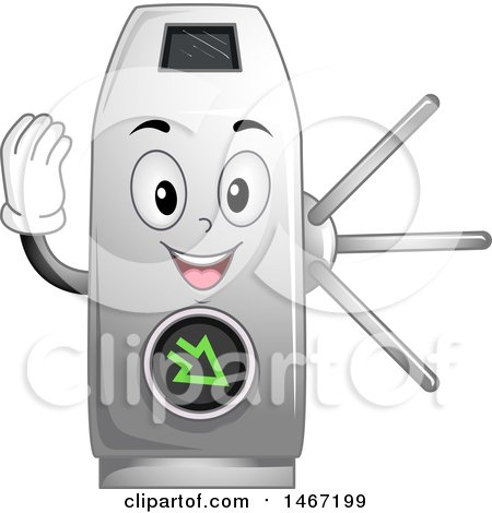 Clipart of a Turnstile Mascot Gesturing Go - Royalty Free Vector Illustration by BNP Design Studio