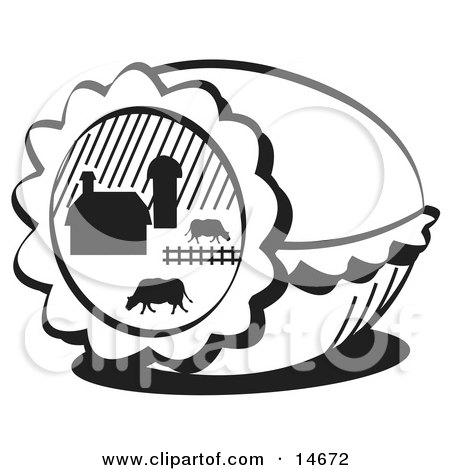 Easter Egg With A Farm Scene Of Cows Grazing In A Pasture Near A Barn, Black and White Clipart Illustration by Andy Nortnik