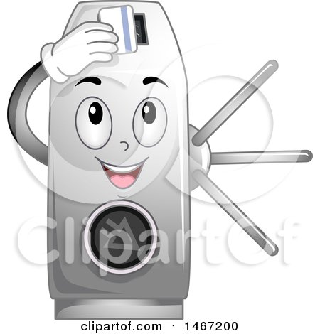 Clipart of a Turnstile Mascot Inserting a Card - Royalty Free Vector Illustration by BNP Design Studio