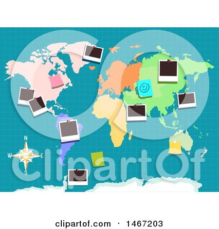 Clipart of a Colorful World Map with Pictures Pinned - Royalty Free Vector Illustration by BNP Design Studio