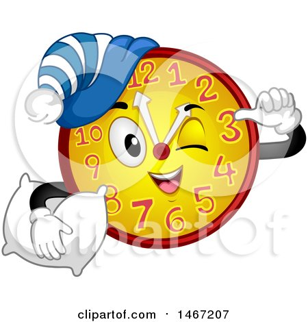 Clipart of a Clock Mascot Ready for a Nap - Royalty Free Vector Illustration by BNP Design Studio