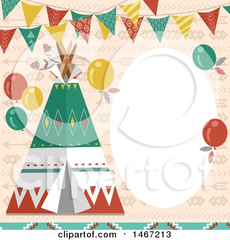 Clipart of a Native American Indian Tipi Party Invitation - Royalty Free Vector Illustration by BNP Design Studio