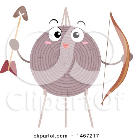 Clipart of a Happy Archery Target Mascot Holding a Bow and Arrow - Royalty Free Vector Illustration by BNP Design Studio