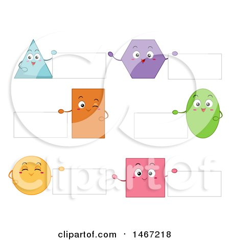 Clipart of Shape Characters Holding Signs - Royalty Free Vector Illustration by BNP Design Studio