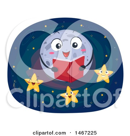 Clipart of a Full Moon Reading a Story to Stars - Royalty Free Vector Illustration by BNP Design Studio