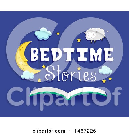 Clipart of a Sleeping Crescent Moon with Bedtime Stories Text over an Open Book - Royalty Free Vector Illustration by BNP Design Studio