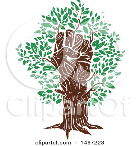 Clipart Of A Fisted Hand Tree Trunk With Green Leaves Royalty Free