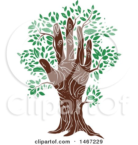 Clipart of a Hand Tree Trunk with Green Leaves - Royalty Free Vector Illustration by BNP Design Studio