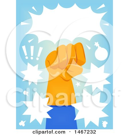 Clipart of a Fisted Gloved Super Hero Hand with Comic Bursts - Royalty Free Vector Illustration by BNP Design Studio