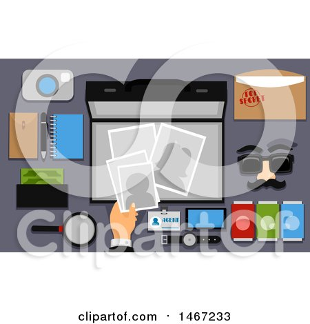 Clipart of Spying Tools and Equipment on a Table - Royalty Free Vector Illustration by BNP Design Studio