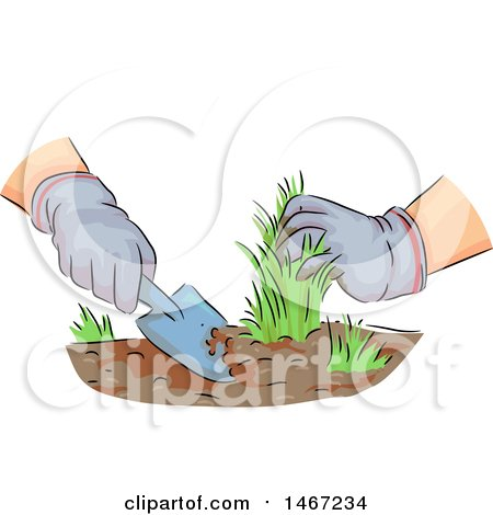 Clipart of a Sketched Pair of Drugged Hands Pulling Weeds - Royalty Free Vector Illustration by BNP Design Studio