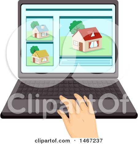 Clipart of a Hand Working on a Laptop Computer, House Hunting - Royalty Free Vector Illustration by BNP Design Studio