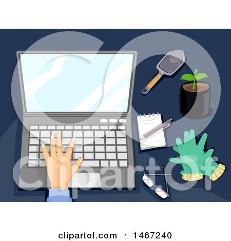 Clipart of a Hand Working on a Laptop Computer, with Gardening Items on the Side - Royalty Free Vector Illustration by BNP Design Studio