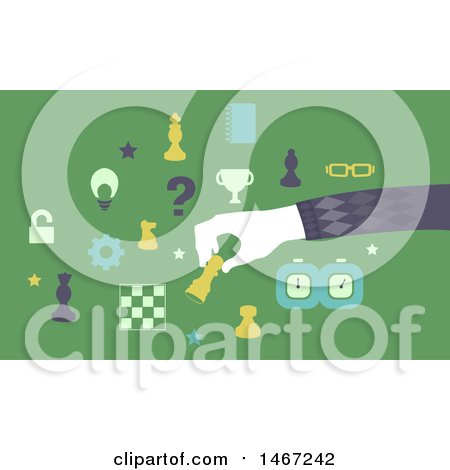 Clipart of a Chess Player Moving Pieces - Royalty Free Vector Illustration by BNP Design Studio