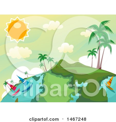 Clipart of a Tropical Globe with Sailboats and Palm Trees - Royalty Free Vector Illustration by BNP Design Studio
