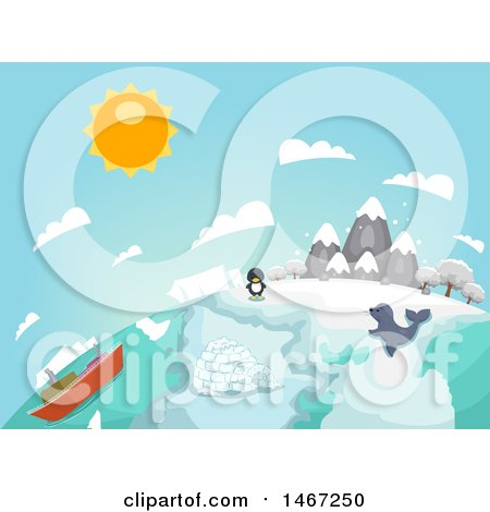 Clipart of a Globe of Arctic Country with a Penguin, Seal and Ship - Royalty Free Vector Illustration by BNP Design Studio