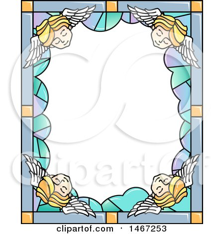 Clipart of a Border of Stained Glass with Sleeping Angels - Royalty Free Vector Illustration by BNP Design Studio