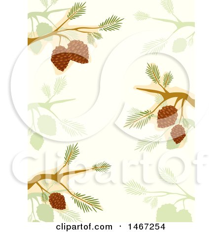 Clipart of a Background of Branches and Cones - Royalty Free Vector Illustration by BNP Design Studio