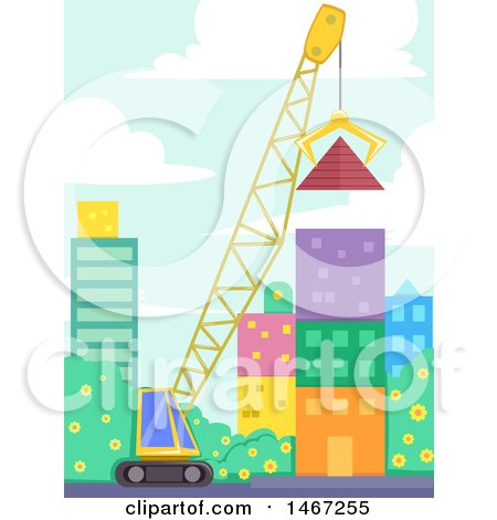 Clipart of a Crane Lifting a Giant Pyramid off the Ground in a City - Royalty Free Vector Illustration by BNP Design Studio
