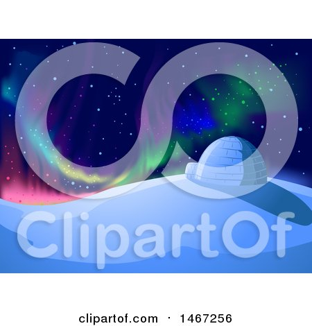 Clipart of a Colorful Night Sky with Northern Lights over an Igloo - Royalty Free Vector Illustration by BNP Design Studio