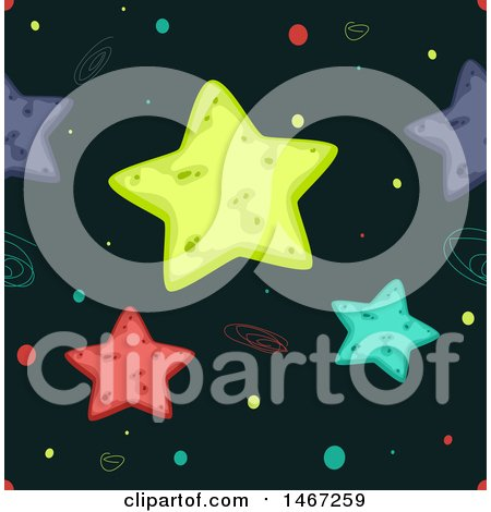 Clipart of a Seamless Background of Colorful Stars - Royalty Free Vector Illustration by BNP Design Studio