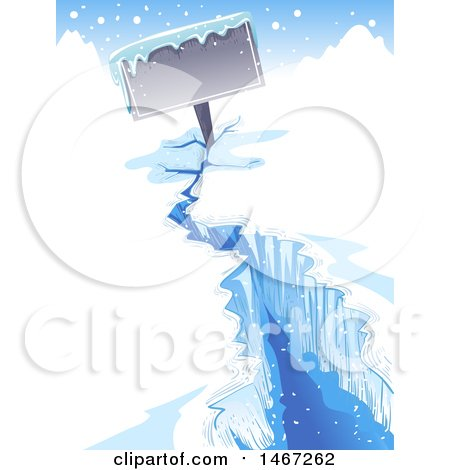 Clipart of a Frozen Zign in a Crack of an Iceberg - Royalty Free Vector Illustration by BNP Design Studio