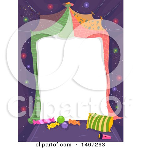 Clipart of a Blank Piece of Paper with Blankets, Pillows and Candy for a Slumber Party or Glamping Invite - Royalty Free Vector Illustration by BNP Design Studio