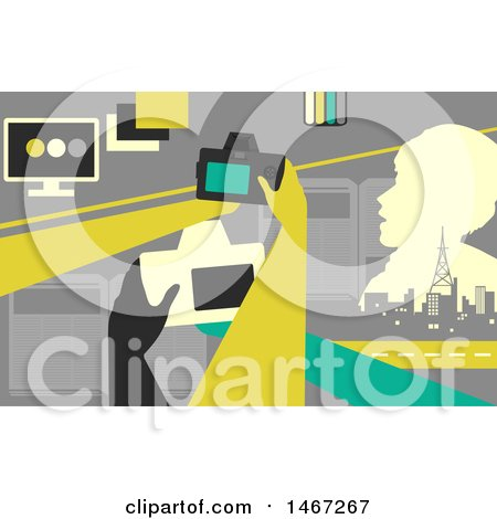 Clipart of Hands Holding Cameras with Monitors, Broadcast Towers, and Books - Royalty Free Vector Illustration by BNP Design Studio