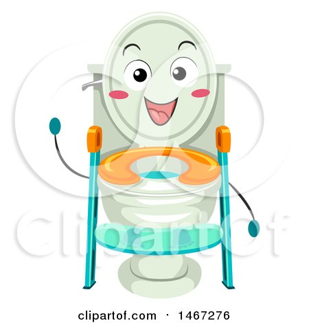 Clipart of a Ladder Toilet Seat Mascot - Royalty Free Vector Illustration by BNP Design Studio