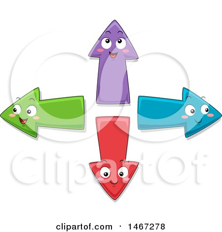 Clipart of Colorful Directional Arrow Characters - Royalty Free Vector Illustration by BNP Design Studio